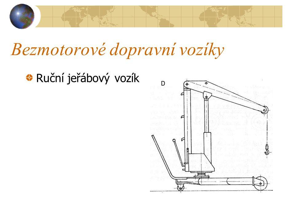 Bezmotorové dopravní vozíky d) Ruční jeřábový vozík ( viz obrázek na další straně ) se skládá z ocelového rámu, na němž je uložen sloup s výložníkem a