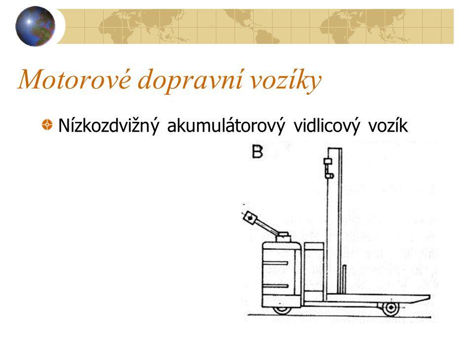 Motorové dopravní vozíky Při ovládání vozíku se obsluha pohybuje za vozíkem nebo stojí na sklopné stupačce. Vozík má dva elektromotory, jeden pro poje