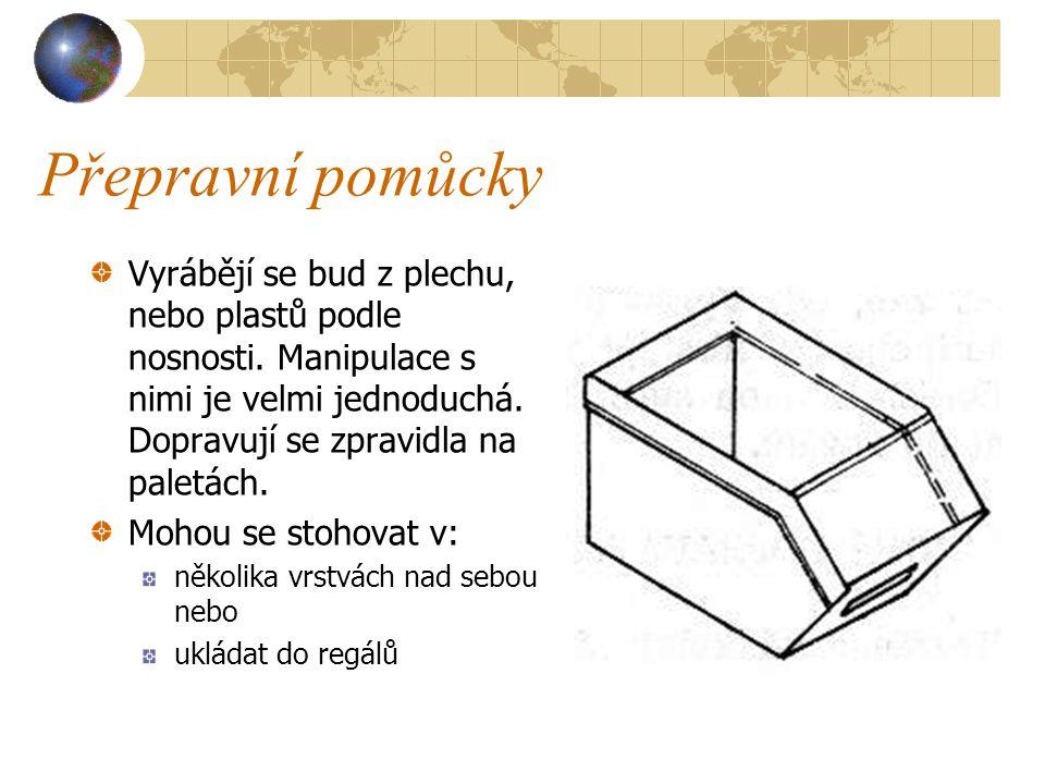 Přepravní pomůcky Ukládací bedny Ukládací bedny jsou vhodné pro skladování a manipulaci s drobnými předměty a výrobky v malých množstvích (kováni, vru