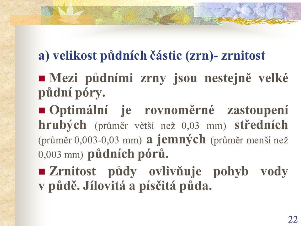 22 a) velikost půdních částic (zrn)- zrnitost Mezi půdními zrny jsou nestejně velké půdní póry. Optimální je rovnoměrné zastoupení hrubých (průměr vět