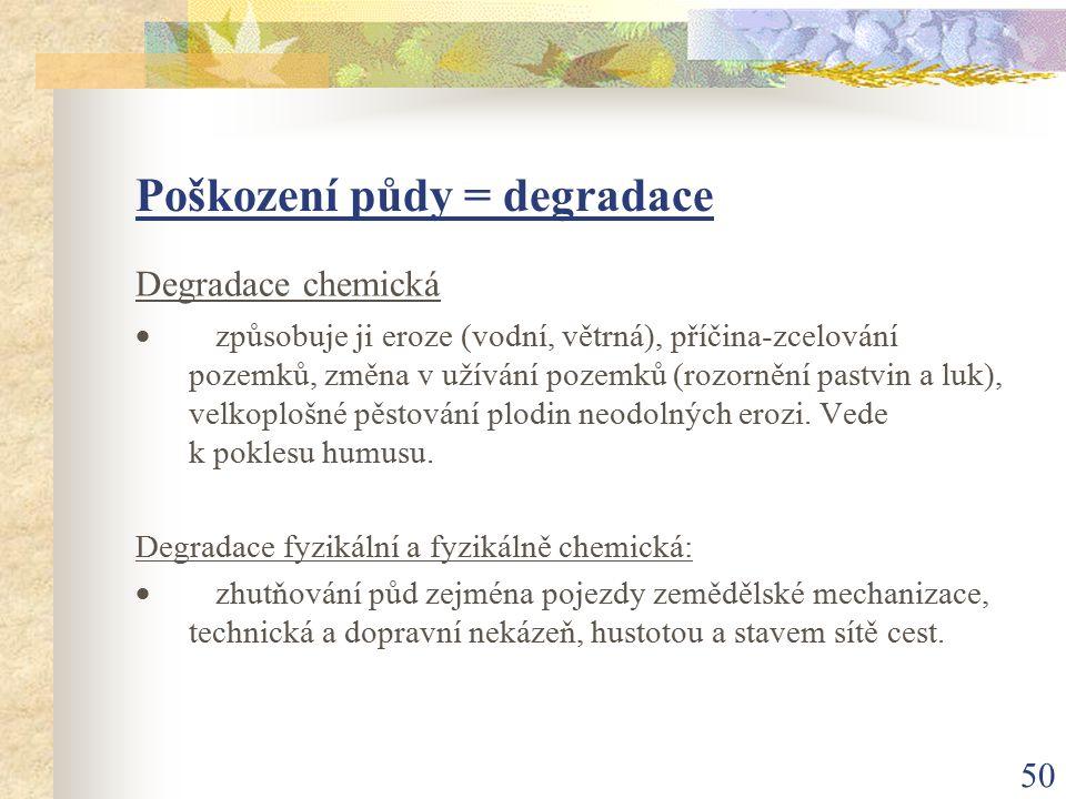50 Poškození půdy = degradace Degradace chemická  způsobuje ji eroze (vodní, větrná), příčina-zcelování pozemků, změna v užívání pozemků (rozornění p