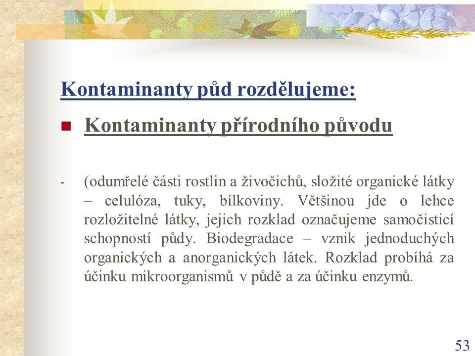 53 Kontaminanty půd rozdělujeme: Kontaminanty přírodního původu - (odumřelé části rostlin a živočichů, složité organické látky – celulóza, tuky, bílko