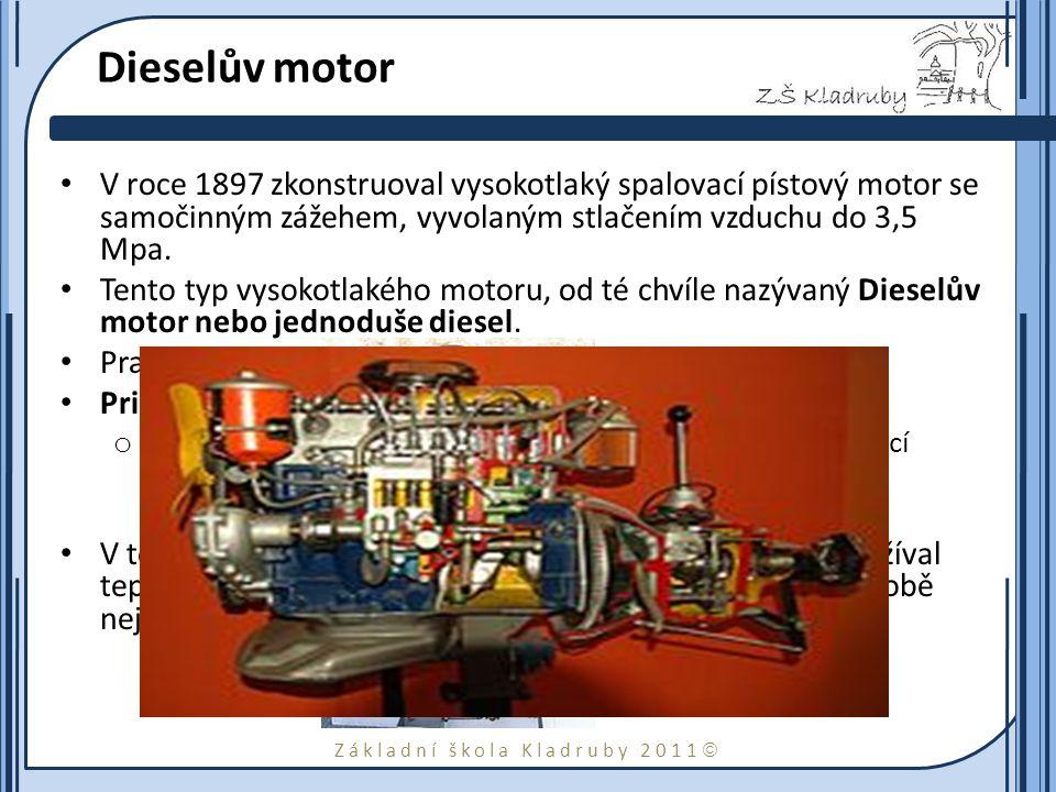 Základní škola Kladruby 2011  Dieselův motor V roce 1897 zkonstruoval vysokotlaký spalovací pístový motor se samočinným zážehem, vyvolaným stlačením vzduchu do 3,5 Mpa.