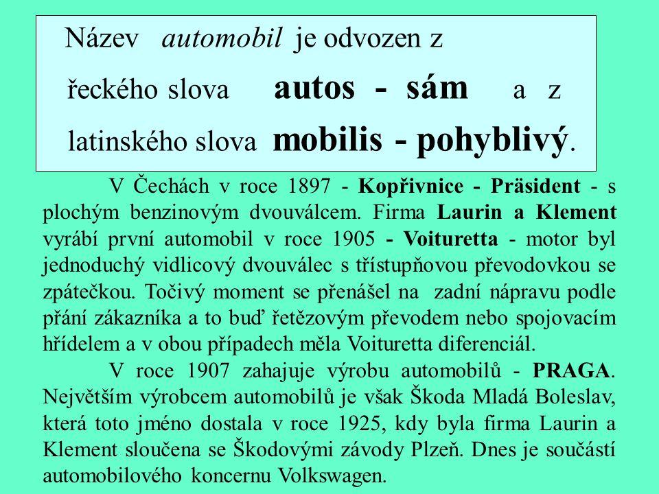 Název automobil je odvozen z řeckého slova autos - sám a z latinského slova mobilis - pohyblivý.