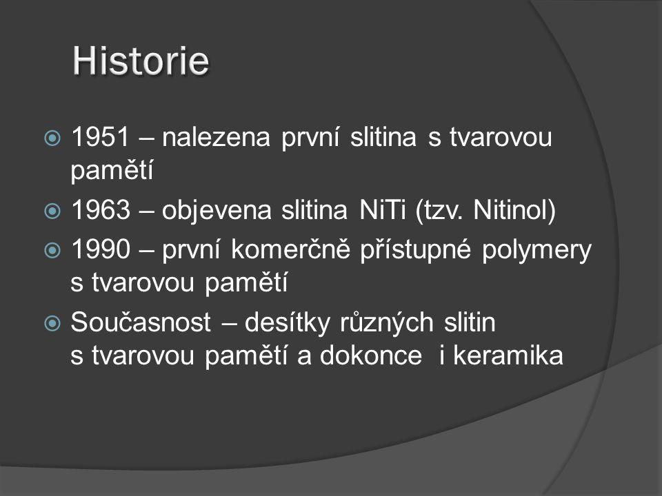  1951 – nalezena první slitina s tvarovou pamětí  1963 – objevena slitina NiTi (tzv. Nitinol)  1990 – první komerčně přístupné polymery s tvarovou