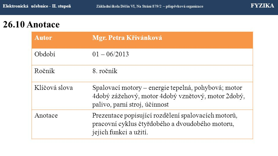 26.10 Anotace Elektronická učebnice - II.