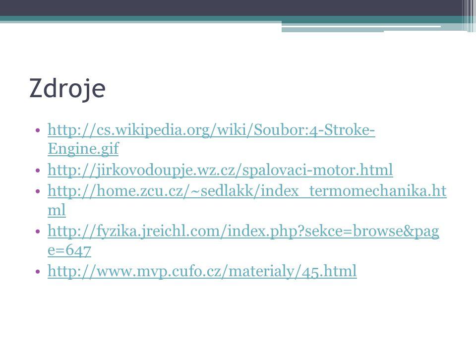 Zdroje http://cs.wikipedia.org/wiki/Soubor:4-Stroke- Engine.gifhttp://cs.wikipedia.org/wiki/Soubor:4-Stroke- Engine.gif http://jirkovodoupje.wz.cz/spalovaci-motor.html http://home.zcu.cz/~sedlakk/index_termomechanika.ht mlhttp://home.zcu.cz/~sedlakk/index_termomechanika.ht ml http://fyzika.jreichl.com/index.php?sekce=browse&pag e=647http://fyzika.jreichl.com/index.php?sekce=browse&pag e=647 http://www.mvp.cufo.cz/materialy/45.html