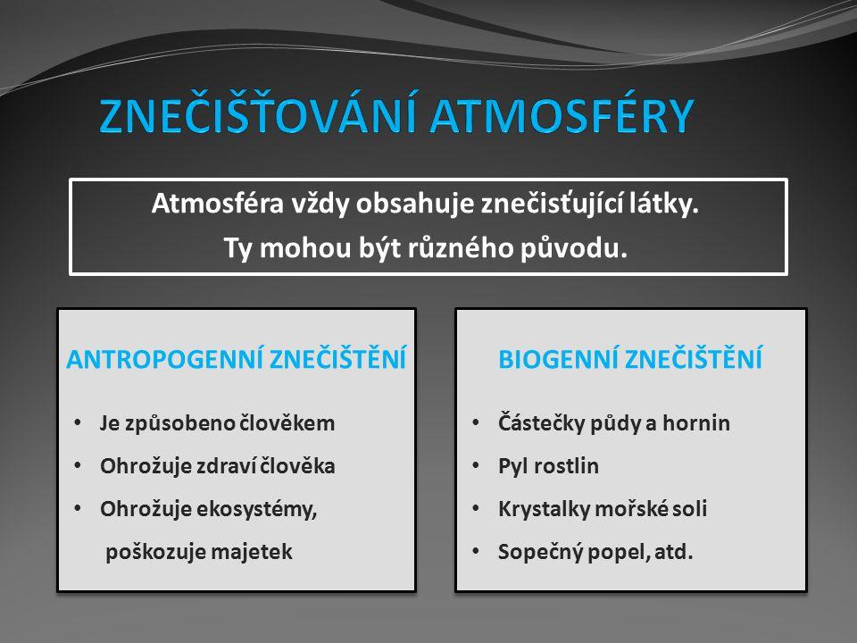 Atmosféra vždy obsahuje znečisťující látky. Ty mohou být různého původu. ANTROPOGENNÍ ZNEČIŠTĚNÍ Je způsobeno člověkem Ohrožuje zdraví člověka Ohrožuj