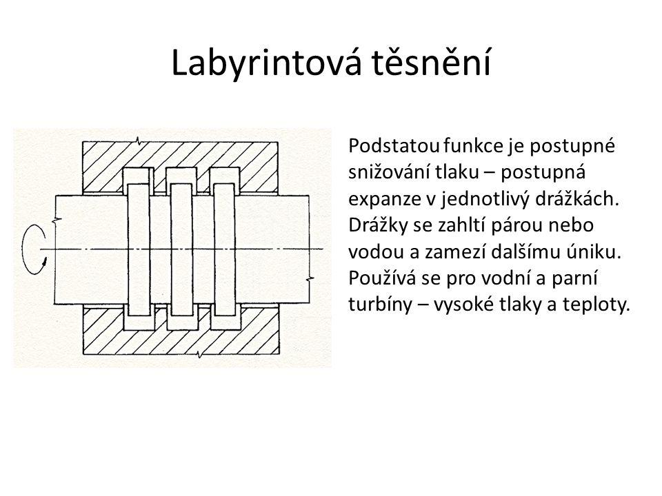 Labyrintová těsnění Podstatou funkce je postupné snižování tlaku – postupná expanze v jednotlivý drážkách.