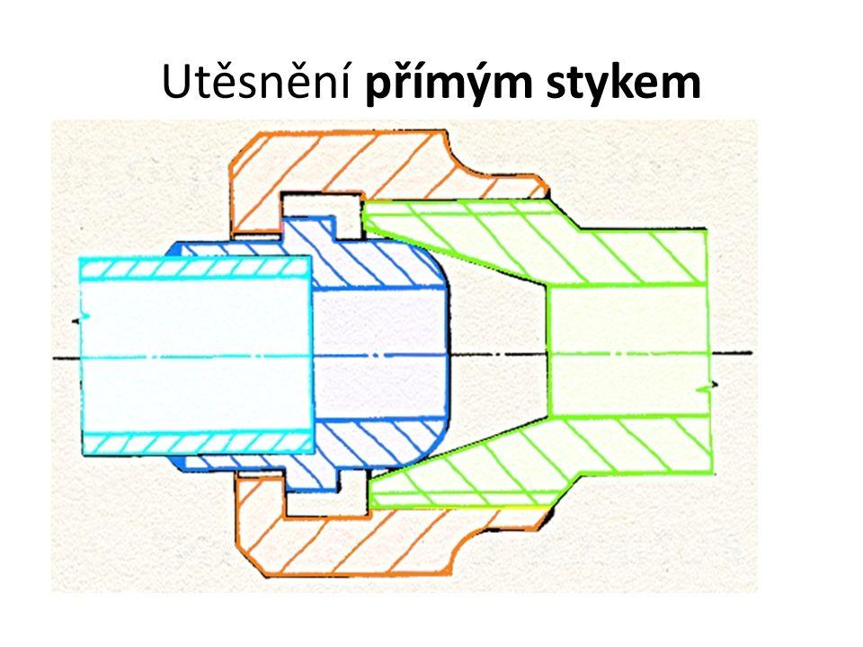 Utěsnění rozebíratelných spojů pomocí těsnění Těsnění se vkládá mezi těsnící plochy – plochá nebo tvarová.
