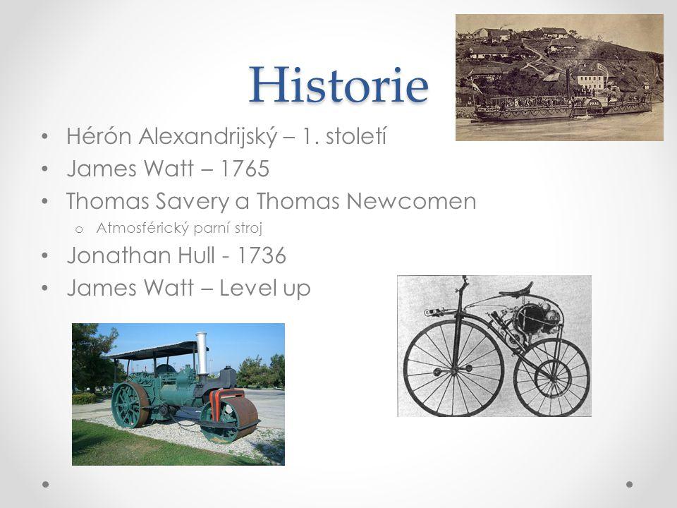 Historie Hérón Alexandrijský – 1. století James Watt – 1765 Thomas Savery a Thomas Newcomen o Atmosférický parní stroj Jonathan Hull - 1736 James Watt