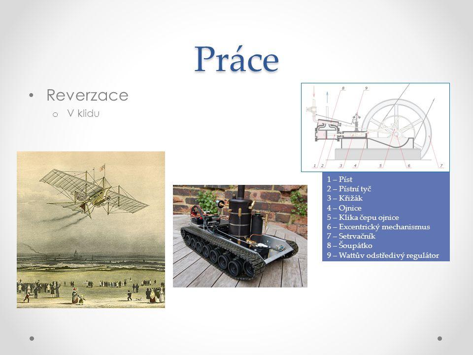 Práce Reverzace o V klidu 1 – Píst 2 – Pístní tyč 3 – Křižák 4 – Ojnice 5 – Klika čepu ojnice 6 – Excentrický mechanismus 7 – Setrvačník 8 – Šoupátko