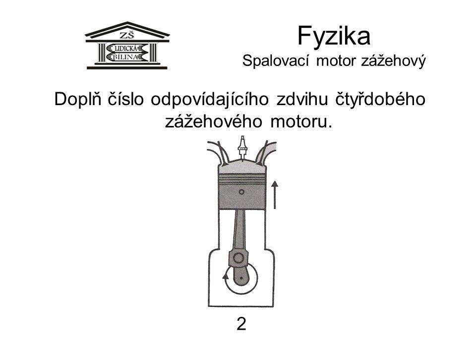 Fyzika Spalovací motor zážehový 2 Doplň číslo odpovídajícího zdvihu čtyřdobého zážehového motoru.