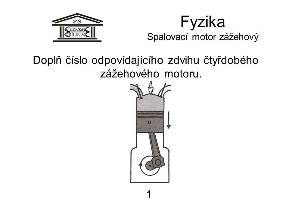 Fyzika Spalovací motor zážehový 1 Doplň číslo odpovídajícího zdvihu čtyřdobého zážehového motoru.