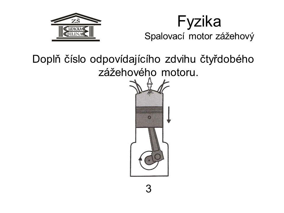 Fyzika Spalovací motor zážehový 3 Doplň číslo odpovídajícího zdvihu čtyřdobého zážehového motoru.