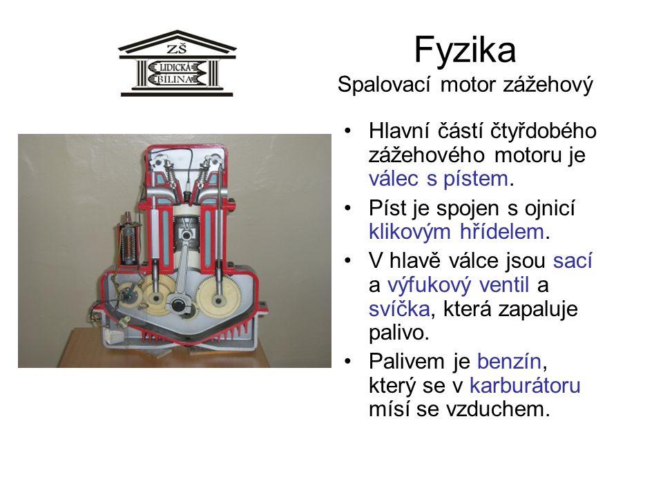 Fyzika Spalovací motor zážehový Hlavní částí čtyřdobého zážehového motoru je válec s pístem. Píst je spojen s ojnicí klikovým hřídelem. V hlavě válce