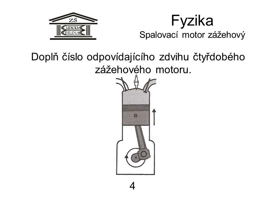 Fyzika Spalovací motor zážehový 4 Doplň číslo odpovídajícího zdvihu čtyřdobého zážehového motoru.