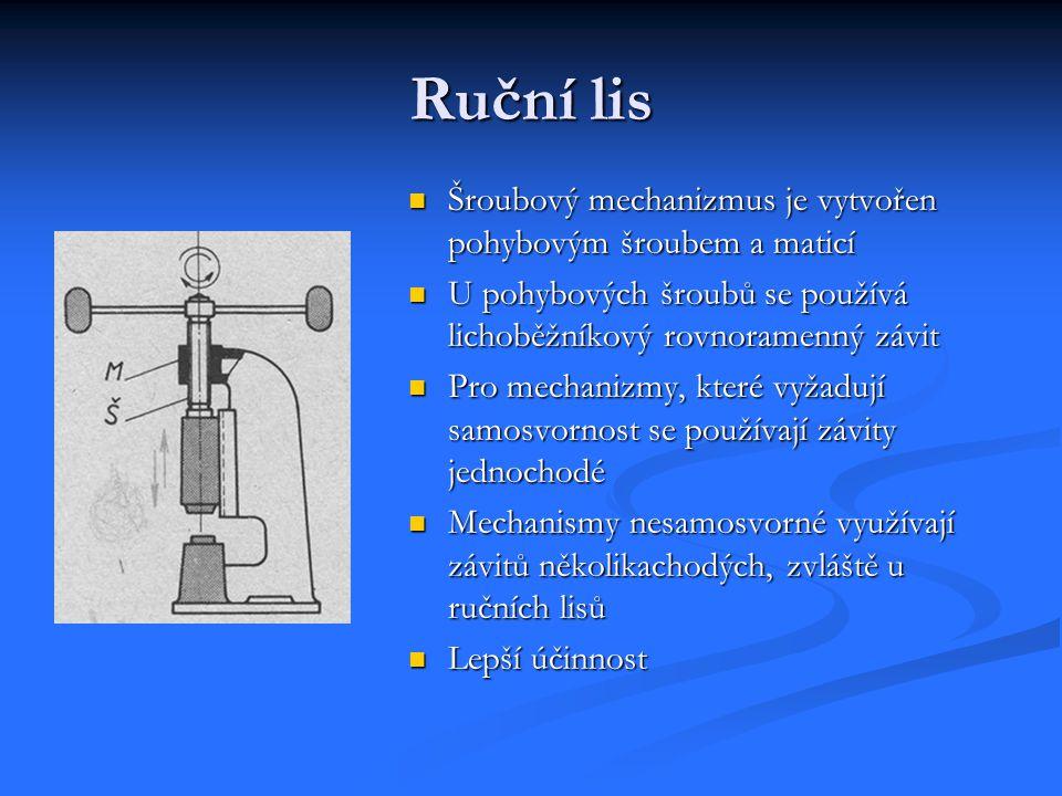 Ruční lis Šroubový mechanizmus je vytvořen pohybovým šroubem a maticí U pohybových šroubů se používá lichoběžníkový rovnoramenný závit Pro mechanizmy,