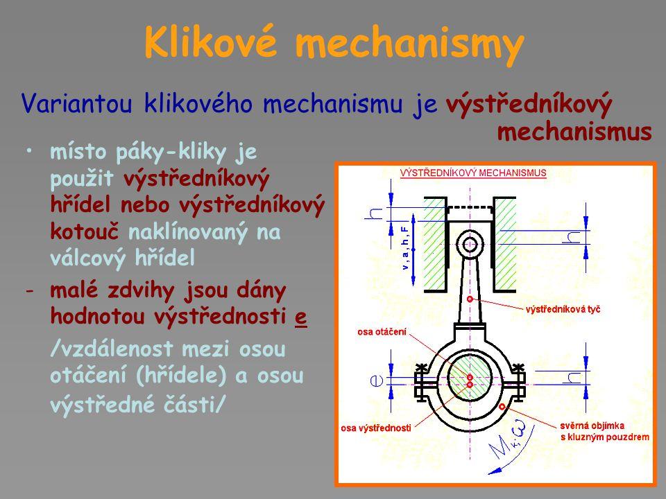 Klikové mechanismy Výstředníkový mechanismus nazýváme také EXCENTR Excentr je nalisován nebo naklínován na válcové hřídeli, nebo je použit přímo výstředníkový hřídel