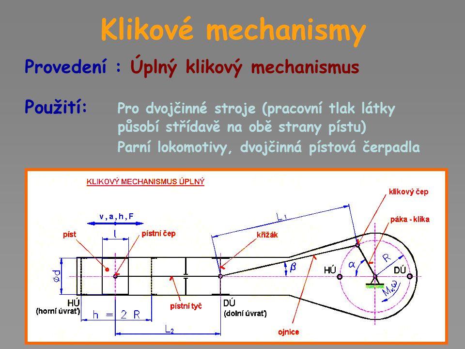 Klikové mechanismy Složení : Píst Pohybuje se ve válci přímočaře vratně Na dno působí tlak páry, kapaliny, vzduchu (plynu) Pro zamezení ztrát tlaku v pracovním prostoru je píst opatřen těsnícími kroužky nebo ucpávky Pro zmenšení hmotnosti jsou písty duté Konstrukce pístu spalovacího motoru