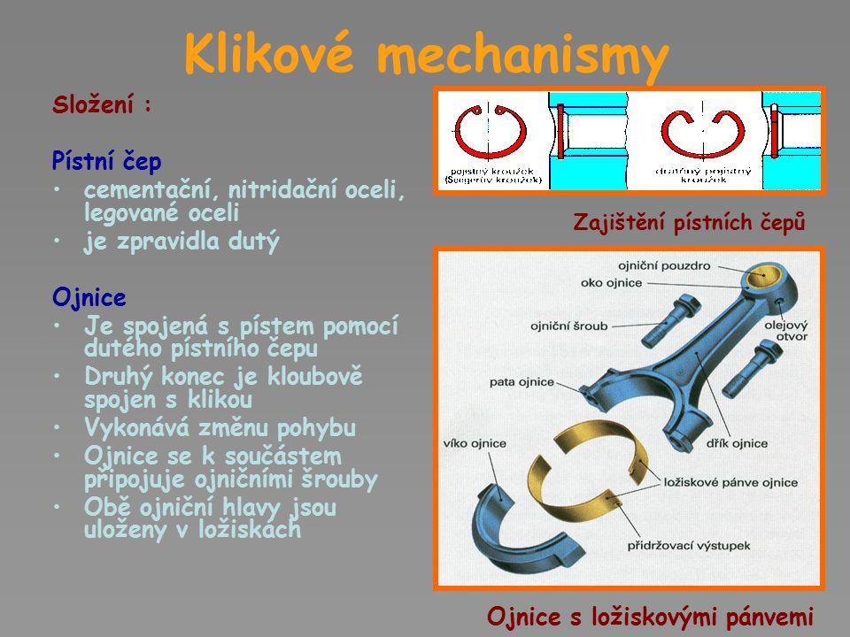 Klikové mechanismy Složení : Klika Uložena v ložiskách Koná rotační pohyb U víceválcových strojů se používá kliková hřídel Klika u nápravy parní lokomotivy Kliková hřídel
