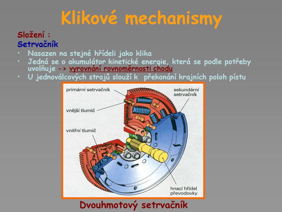 Klikové mechanismy místo páky-kliky je použit výstředníkový hřídel nebo výstředníkový kotouč naklínovaný na válcový hřídel -malé zdvihy jsou dány hodnotou výstřednosti e /vzdálenost mezi osou otáčení (hřídele) a osou výstředné části/ Variantou klikového mechanismu je výstředníkový mechanismus