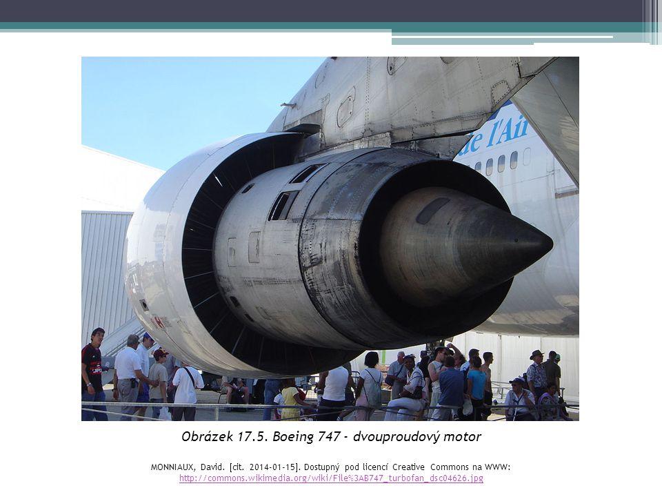 Obrázek 17.5. Boeing 747 - dvouproudový motor MONNIAUX, David.  cit. 2014-01-15 . Dostupný pod licencí Creative Commons na WWW: http://commons.wikim