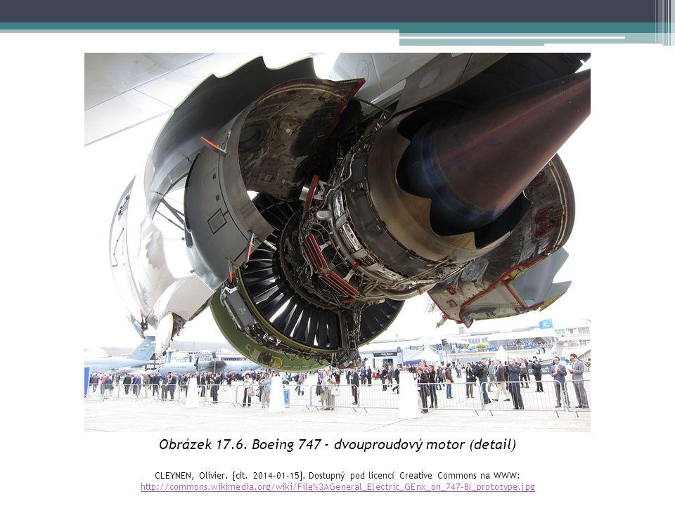 Obrázek 17.6. Boeing 747 - dvouproudový motor (detail) CLEYNEN, Olivier.  cit. 2014-01-15 . Dostupný pod licencí Creative Commons na WWW: http://com