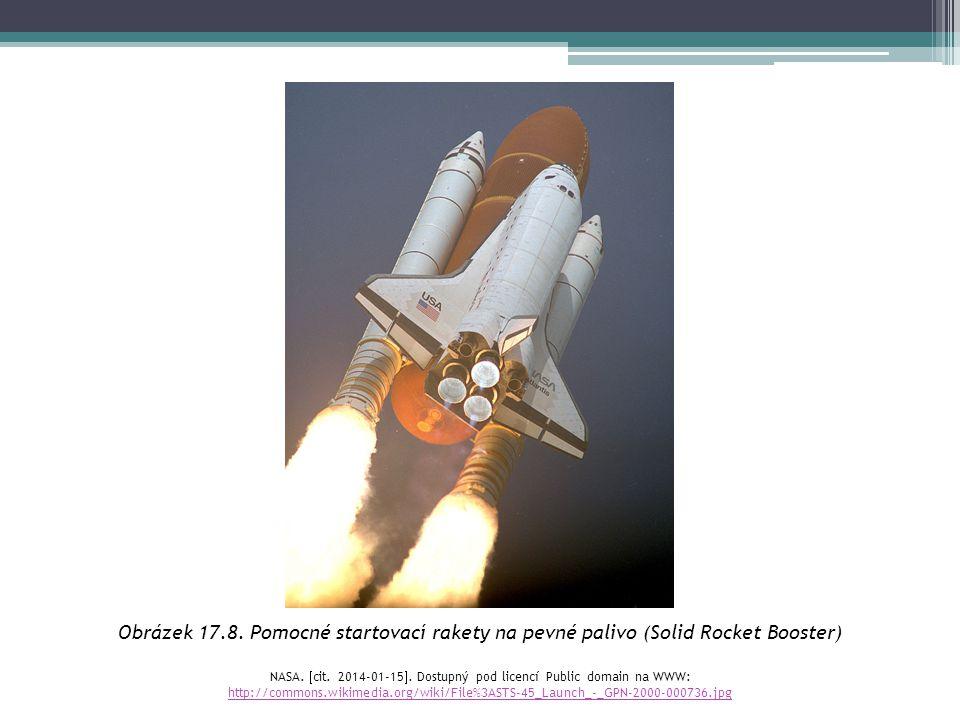 Obrázek 17.8. Pomocné startovací rakety na pevné palivo (Solid Rocket Booster) NASA.  cit. 2014-01-15 . Dostupný pod licencí Public domain na WWW: h