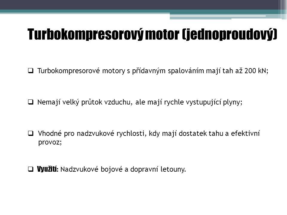 Turbokompresorový motor (jednoproudový)  Vhodné pro nadzvukové rychlosti, kdy mají dostatek tahu a efektivní provoz;  Využití: Nadzvukové bojové a dopravní letouny.