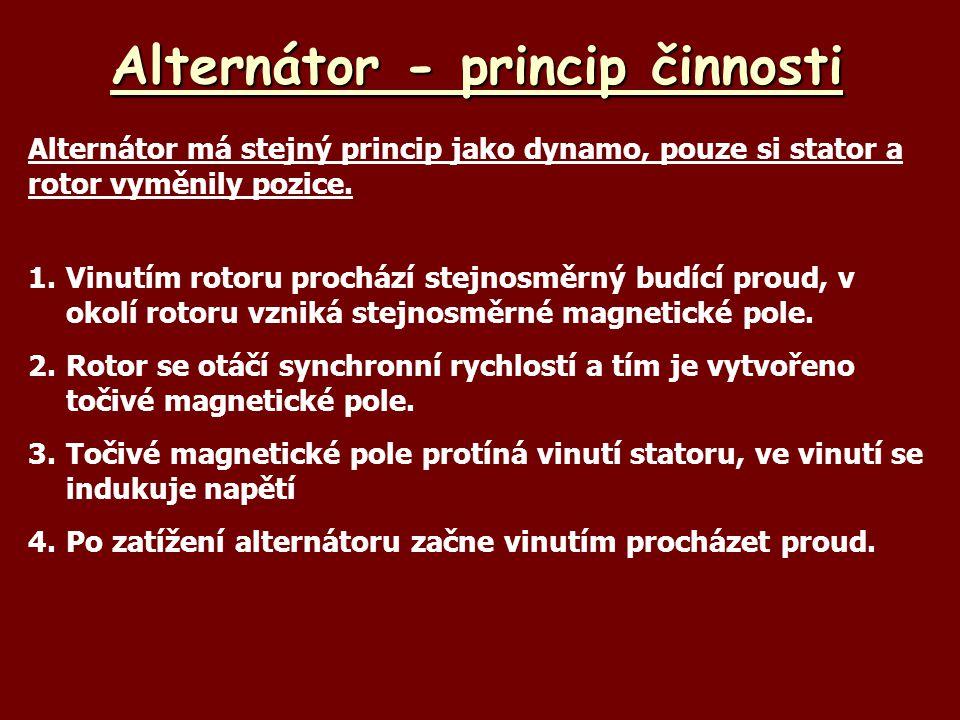 Alternátor - princip činnosti Alternátor má stejný princip jako dynamo, pouze si stator a rotor vyměnily pozice. 1.Vinutím rotoru prochází stejnosměrn