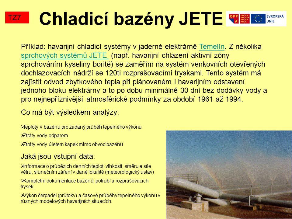 TZ7 JETE – dochlazovací bazény (270x60m, hloubka 3m, 120 tangenciálních trysek B-50) Musí se počítat i teplotní pole v podloží bazénů (Fourierova Kirchhoffova rovnice) a zimní režim (zamrzání bazénů) Chladicí bazény JETE