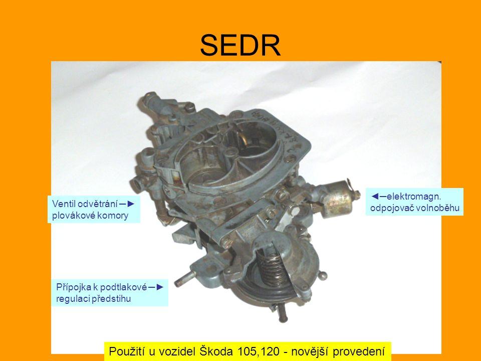 SEDR Použití u vozidel Škoda 105,120 - novější provedení ◄─elektromagn. odpojovač volnoběhu Ventil odvětrání ─► plovákové komory Přípojka k podtlakové