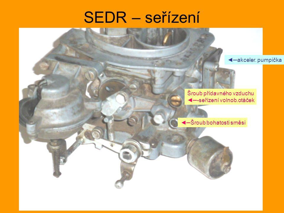 SEDR – seřízení Šroub přídavného vzduchu ◄─-seřízení volnob.otáček ◄─Šroub bohatosti směsi ◄─akceler. pumpička
