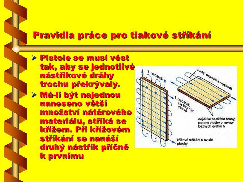 Pravidla práce pro tlakové stříkání Plochy, které se mají stříkat, by měly ležet pokud možno vodorovně. Viskozita laku musí být správně nastavena a vi