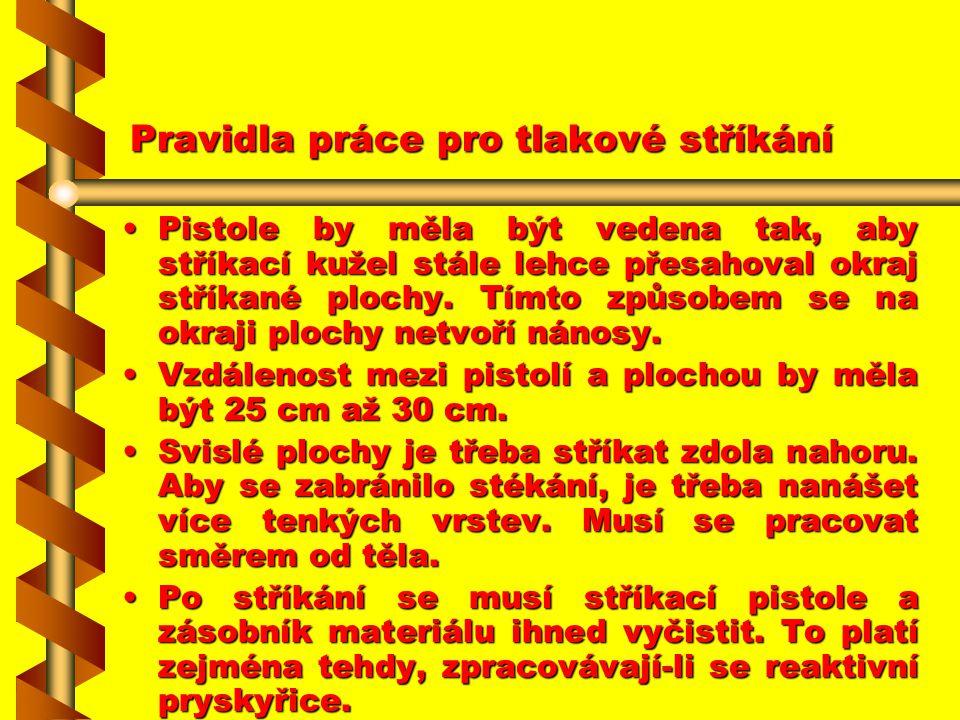 Pravidla práce pro tlakové stříkání PPPPistole se musí vést tak, aby se jednotlivé nástřikové dráhy trochu překrývaly. MMMMá-li být najednou n