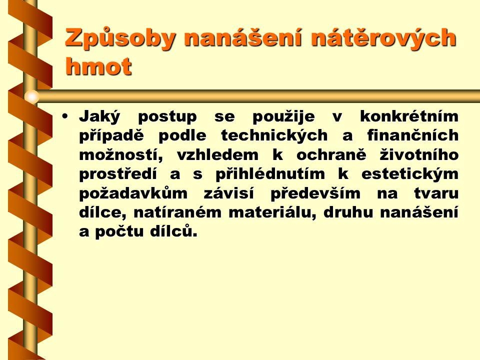 2.7.13Způsoby nanášení nátěrových hmot Při nanášení kapalných materiálů na povrchy rozlišujeme: ruční nanášení : –n–n–n–natíráním, –v–v–v–válečkováním