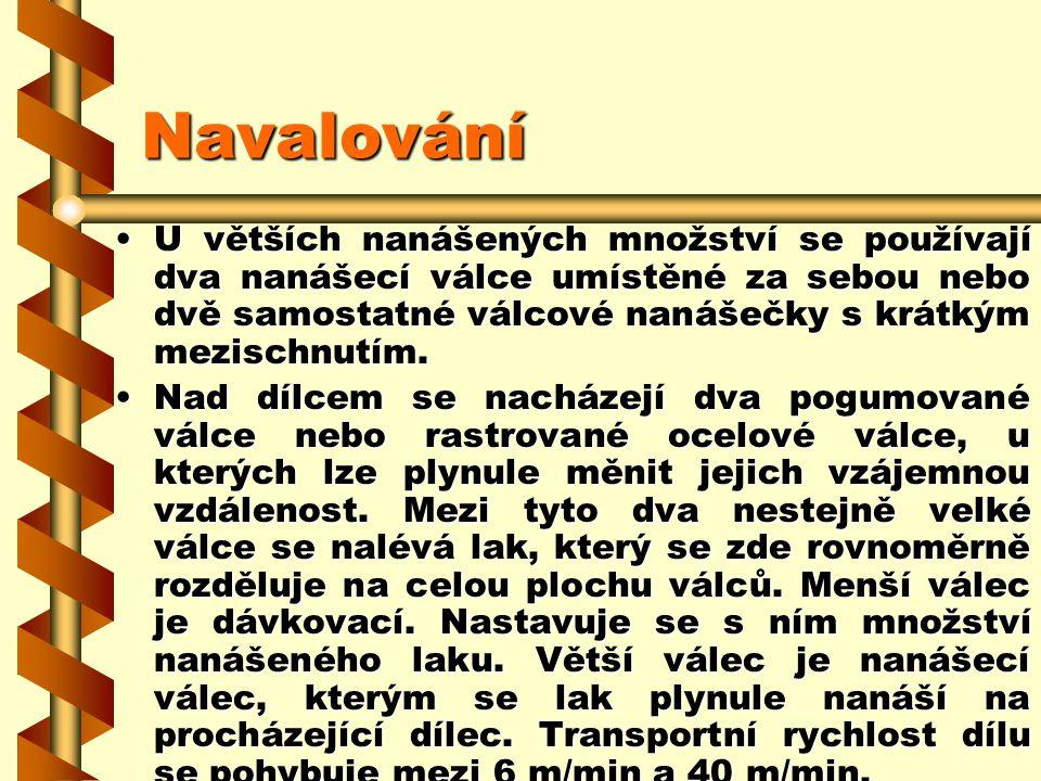 2.7.13.3Navalování Navalováním lze nanášet malá i velká množství laku v široké oblasti viskozity. Nanášení množství lze plynule nastavit. Tloušťky vlh