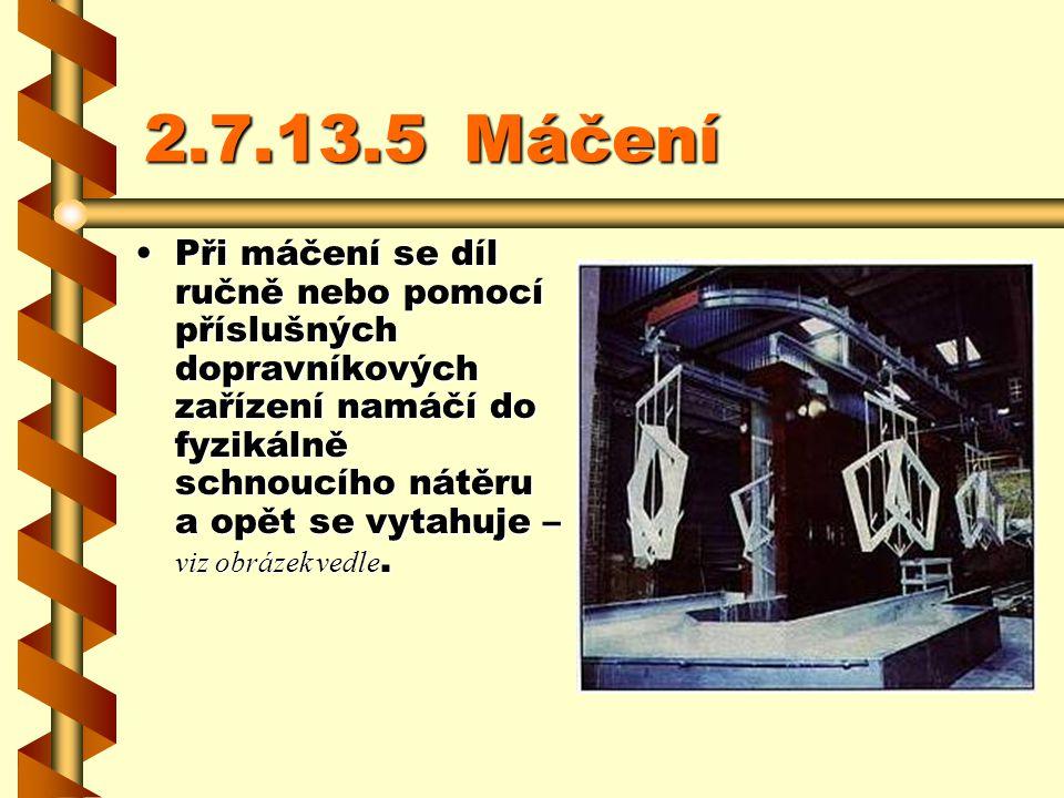 2.7.13.4Polévání prostorových prvků Při polévání se dílce vedou kolem polévacích trysek a paprskem nátěrové hmoty se ze všech stran zkrápějí. Přebyteč