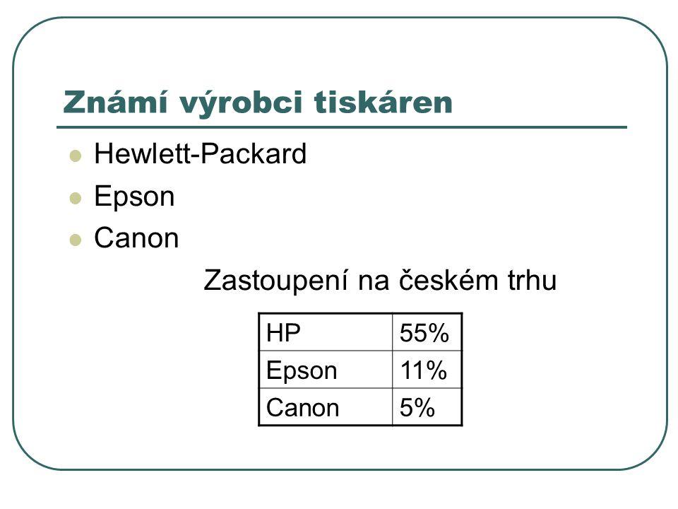 Známí výrobci tiskáren Hewlett-Packard Epson Canon Zastoupení na českém trhu HP55% Epson11% Canon5%