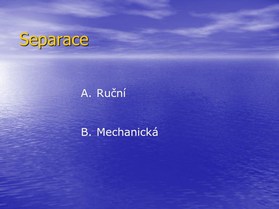 Separace plastového odpadu Flotací Flotací Triboelektrickou metodou Triboelektrickou metodou Optická separace Optická separace Rentgenová separace Rentgenová separace Separace magnetických kovů Separace magnetických kovů