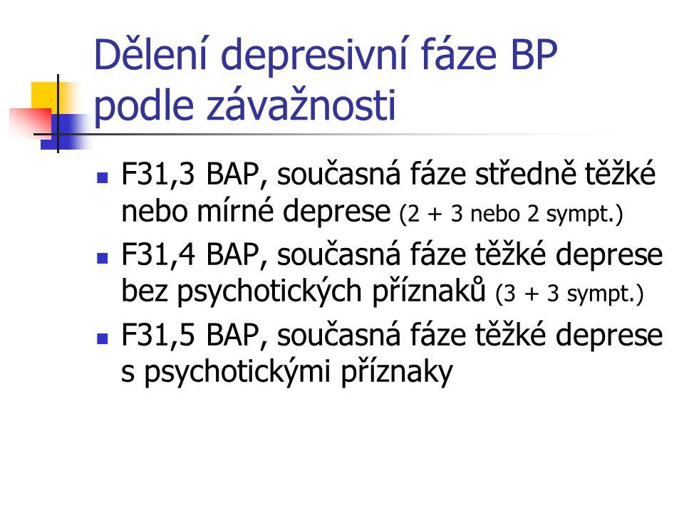 Dělení depresivní fáze BP podle závažnosti F31,3 BAP, současná fáze středně těžké nebo mírné deprese (2 + 3 nebo 2 sympt.) F31,4 BAP, současná fáze tě