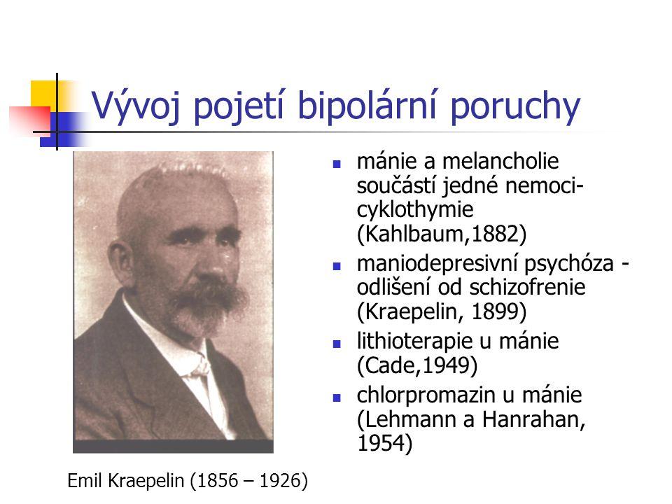 Vývoj pojetí bipolární poruchy mánie a melancholie součástí jedné nemoci- cyklothymie (Kahlbaum,1882) maniodepresivní psychóza - odlišení od schizofre