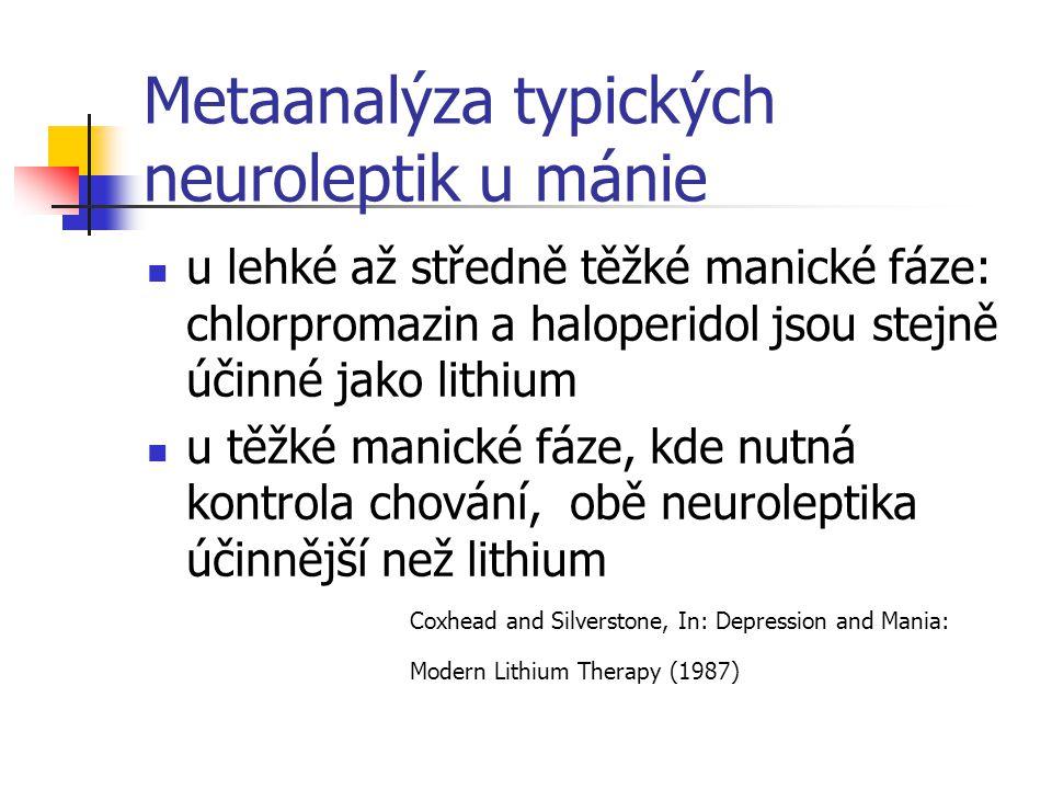 Metaanalýza typických neuroleptik u mánie u lehké až středně těžké manické fáze: chlorpromazin a haloperidol jsou stejně účinné jako lithium u těžké m