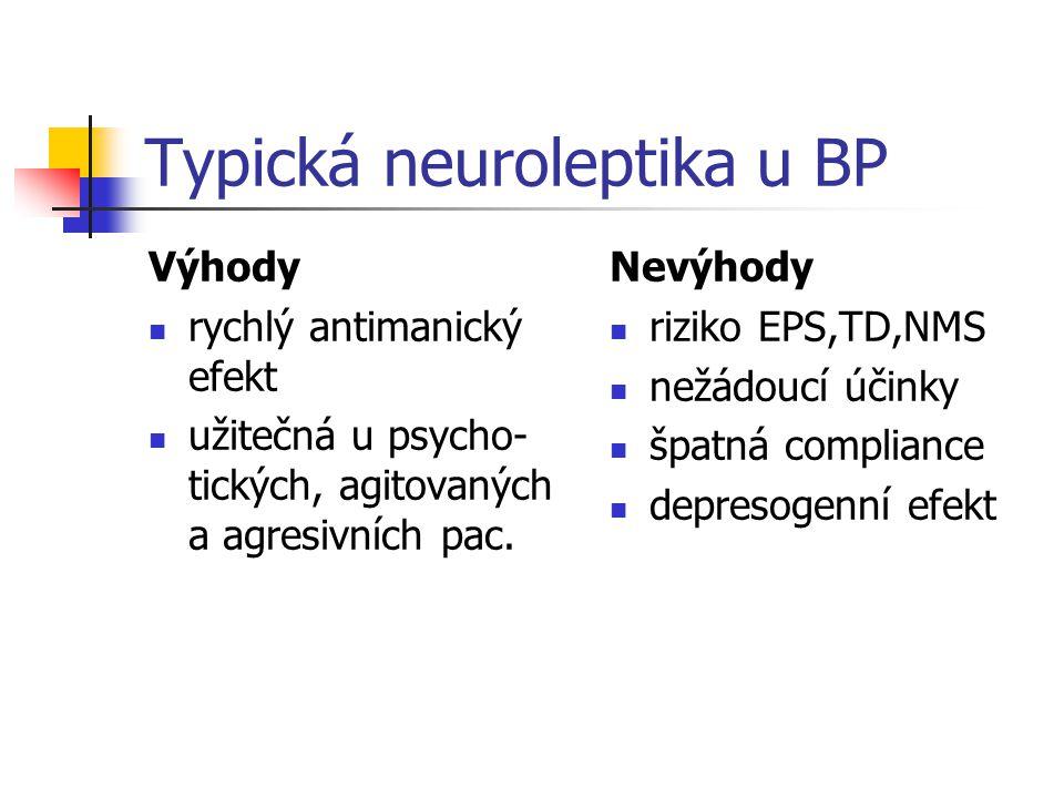 Typická neuroleptika u BP Výhody rychlý antimanický efekt užitečná u psycho- tických, agitovaných a agresivních pac. Nevýhody riziko EPS,TD,NMS nežádo