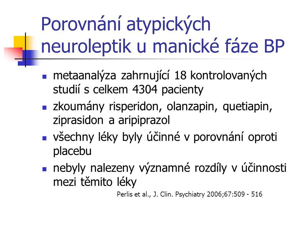 Porovnání atypických neuroleptik u manické fáze BP metaanalýza zahrnující 18 kontrolovaných studií s celkem 4304 pacienty zkoumány risperidon, olanzap