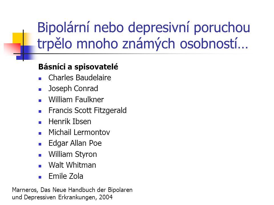 Bipolární nebo depresivní poruchou trpělo mnoho známých osobností… Básníci a spisovatelé Charles Baudelaire Joseph Conrad William Faulkner Francis Sco