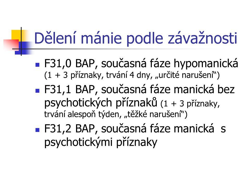 """Dělení mánie podle závažnosti F31,0 BAP, současná fáze hypomanická (1 + 3 příznaky, trvání 4 dny, """"určité narušení"""") F31,1 BAP, současná fáze manická"""