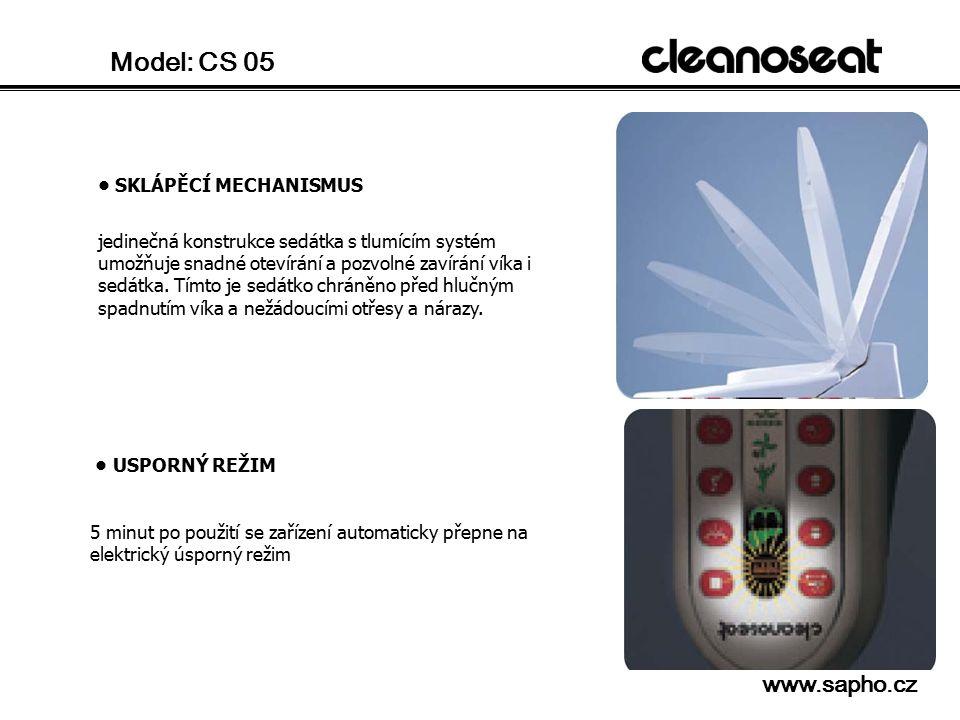 Model: CS 05 SNÍMATELNÉ OSTŘIKOVACÍ TRYSKY hlavice trysek lze sejmout a snadno a pohodlně vyčistit VYHŘÍVÁNÍ SEDÁTKA teplota sedátka může být nastavena individuálně.
