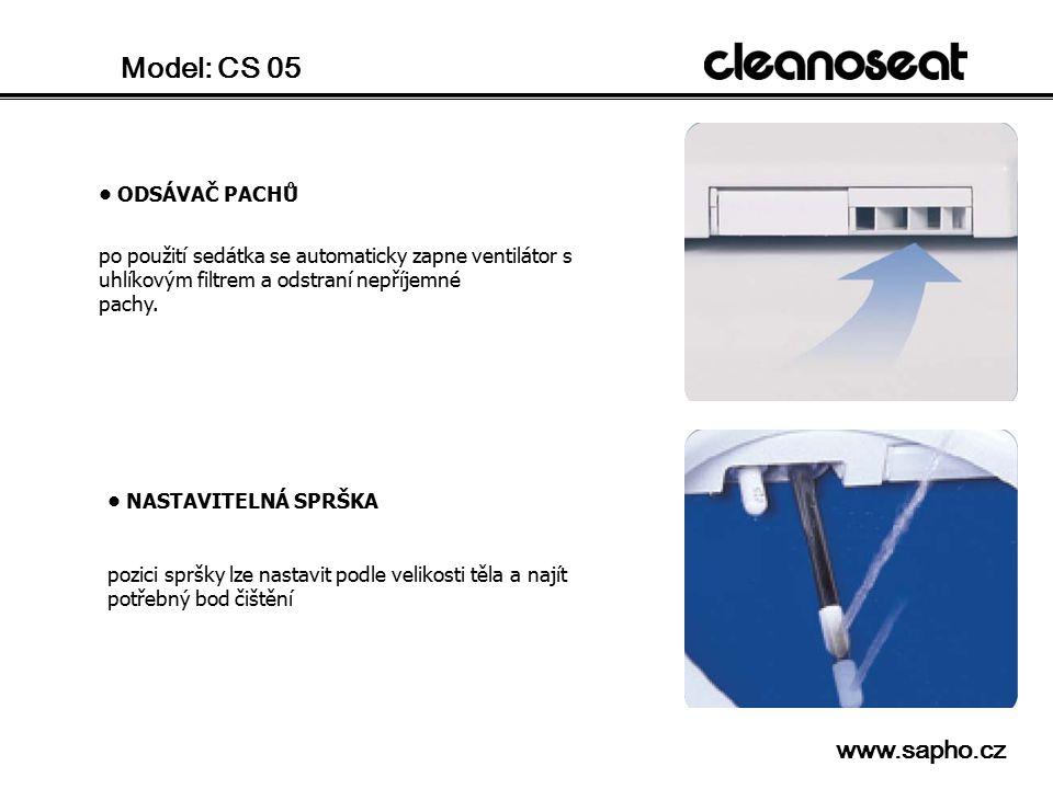 Model: CS 05 ODSÁVAČ PACHŮ po použití sedátka se automaticky zapne ventilátor s uhlíkovým filtrem a odstraní nepříjemné pachy. NASTAVITELNÁ SPRŠKA poz